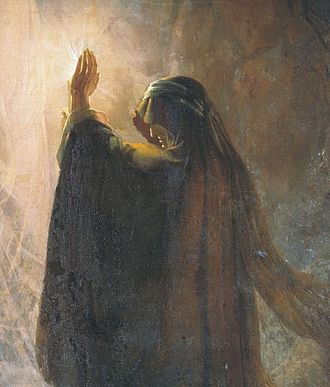 """Witch of Endor - """"The Endorian Sorceress Causes the Shade of Samuel"""" (Martynov, Dmitry Nikiforovich, 1857)"""