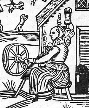 Woodcut with woman spinning with a spinning wheel