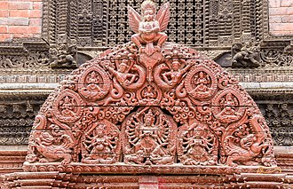 Tympanum (architecture) - Image: Wooden Tympanum at Entrance of Kumari House Basantapur, Kathmandu Nepal 0368