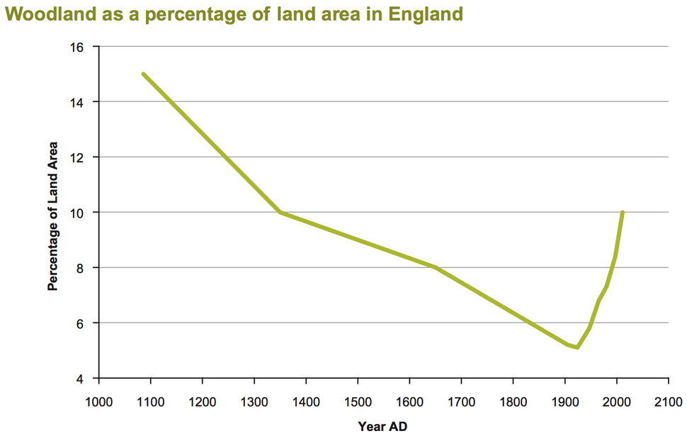 Woodland as a percentage of land area in England
