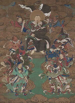 Xuanwu (god) - A Ming painting of Zhenwu, seated on a rock throne in the clouds surrounded by attendants and divine marshals