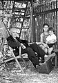 Yard, ladder, deck chair, bench, man, kids Fortepan 12268.jpg