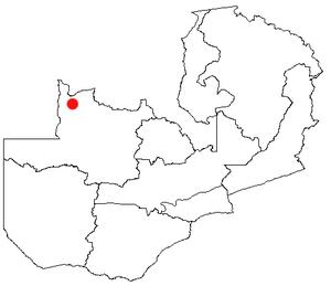 Mwinilunga - Location of Mwinilunga in Zambia