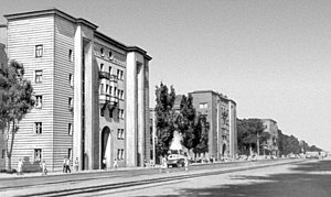 "Zaporizhia - Residential district-""SotsGorod"". Buildings at Sobornyi Avenue (architect Lavrov, built in 1936)"