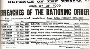 Rationing in the United Kingdom - A First World War government leaflet detailing the consequences of breaking the rationing laws.