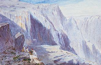 Phaedriades - 'Delphi' by Edward Lear, watercolor, 12 by 19 cm..