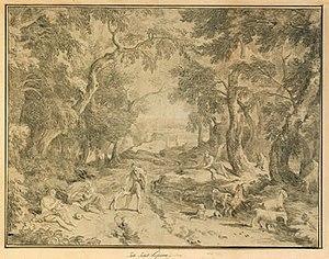 Jan Joost van Cossiau - Image: 'Rastande herdar i skogslandskap' engraving by Jan Joost van Cossiau