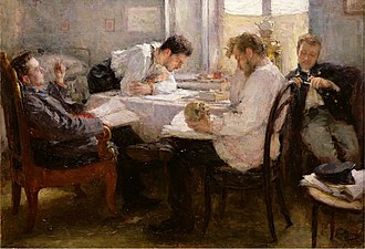 Leonid Pasternak - Night before the exam (1895; Musée d'Orsay, Paris). Purchased 1900.