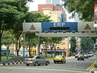 Congestion pricing - Electronic Road Pricing gantry in Singapore, the first city in the world to implement an urban cordon area congestion pricing scheme.