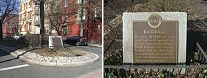 Elysian Fields, Hoboken, New Jersey - A historical marker stands at the intersection of 11th Street and Washington Street, where Elysian Fields once stood.