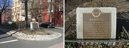 A historical marker stands at the intersection of 11th and Washington Streets, former site of Elysian Fields 1.20.10ElysianFieldsMarkerByLuigiNovi.jpg