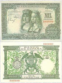 De 1957 con los retratos y el escudo de los reyes isabel y fernando
