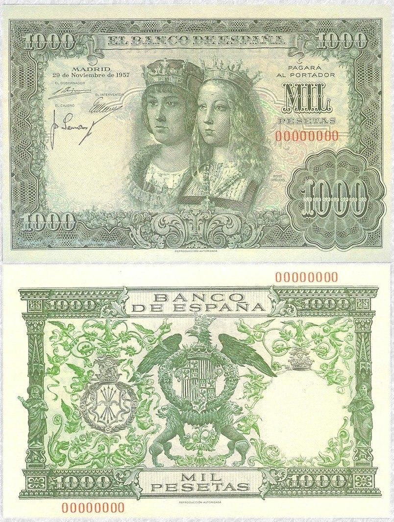 1000 pesetas of Spain 1957