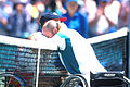 141100 - Wheelchair tennis David Hall celebrates - 3b - 2000 Sydney match photo.jpg