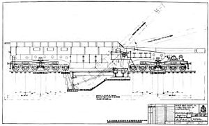 """Span bolster - Span bolsters can be seen at both ends of this diagram of the 14""""/50 caliber railway gun."""