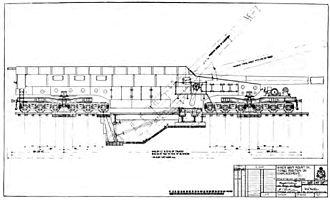 """14""""/50 caliber railway gun - Mk I gun car with pit prepared, ready for firing"""