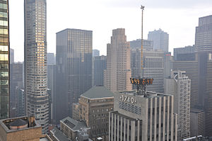 """1740 Broadway - Daytime View of the 1740 Broadway Building from another Tower. The """"Weather Star"""" can be seen on top."""