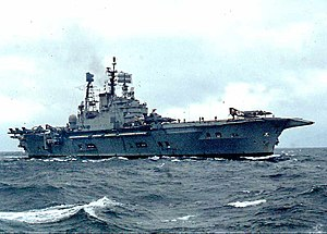 HMS Ark Royal (R09) - Image: 17 HMS Ark Royal North Atlantic July 76
