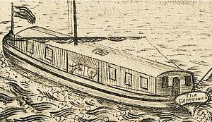 Experiment (horse-powered boat) - Image: 1808 horse paddle boat