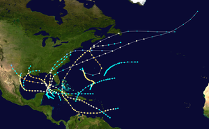 1886 Atlantic hurricane season - Image: 1886 Atlantic hurricane season summary map