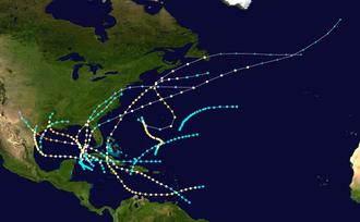 1886 Atlantic hurricane season - Image: 1886 Atlantic hurricane season summary map