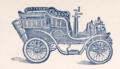 1903-04-17 Friedrich C. Wagener Hannover Postkarte Vordruck Fahrräder Nähmaschinen Motorwagen Opel, Adressseite Automobil (Ausschnitt).png