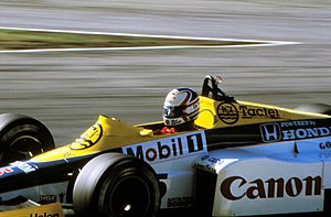 Nigel Mansell - Mansell during practice for the 1985 European Grand Prix