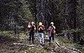 1992. Beth Willhite, Tommy Gregg, and Bruce Hostetler taking Douglas-fir tussock moth defoliation readings. Pine Ranger District, Wallowa-Whitman National Forest. (36362328493).jpg