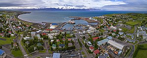 Húsavík - Aerial panorama of the town and the harbour