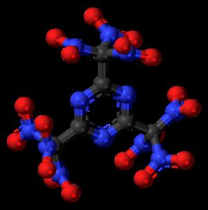 2,4,6-Tris(trinitromethyl)-1,3,5-triazine - Image: 2,4,6 Tris(trinitromethyl) 1,3,5 triazine 3D balls