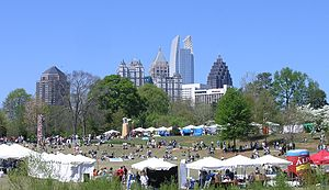 Piedmont Park - 2006 Dogwood Festival with Midtown Atlanta skyline in background