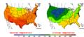 2009-08-18 Color Max-min Temperature Map NOAA.png