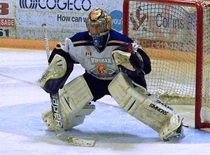 Western Ontario Junior C Hockey League - Wingham Ironmen goalie during 2014 Clarence Schmalz Cup playoffs.
