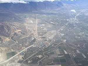 2015-11-03 11 15 37 View from an airplane of the cities of Lehi, American Fork and Highland, Utah along Interstate 15.jpg
