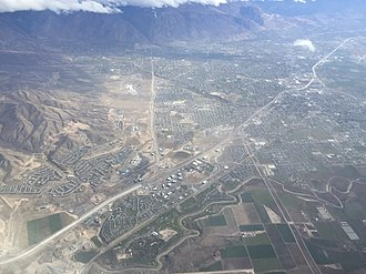 Highland, Utah - View of Lehi (foreground), American Fork (upper right) and Highland (upper left) from an airplane