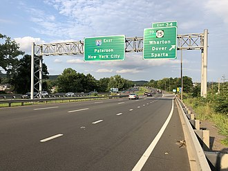 Wharton, New Jersey - I-80 eastbound at Route 15 in Wharton