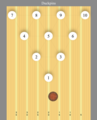 20190510 Duckpin ball and pins on lane.png