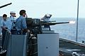 20mm gun is fired during filming of War and Remembrance on USS Lexington (AVT-16) in 1987.jpg