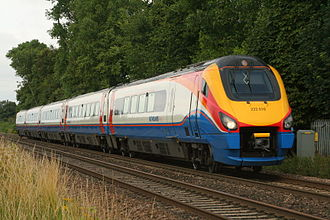 Rail transport in Great Britain - An East Midlands Trains Class 222 Meridian on a London to Nottingham service. These trains are used for InterCity services from London to the East Midlands and South Yorkshire.