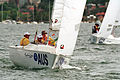 231000 - Sailing sonar Jamie Dunross Noel Robins Graeme Martin action 6 - 3b - 2000 Sydney race photo.jpg