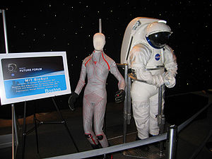 Space activity suit - MIT Bio Suit next to the Mars Mark III planetary hard suit.