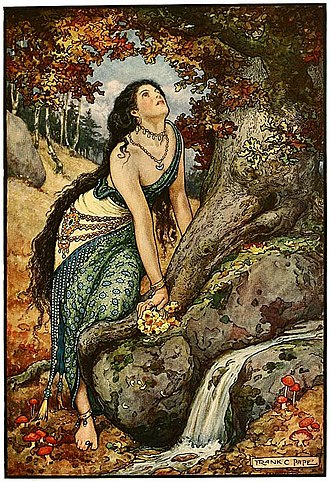 Frank C. Papé - Image: 2 Come down, cried the hero's wife Russian Fairy Book 1916, illustrator Frank C Pape