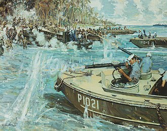 Actions along the Matanikau - A painting depicts U.S. Coast Guard landing craft crews covering the evacuation of U.S. Marines under fire near Point Cruz, Guadalcanal on 27 September 1942.