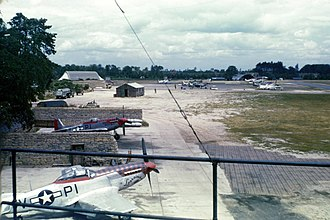 461st Flight Test Squadron - North American P-51s of the 361st Fighter Squadron in protective revetments at RAF Martlesham Heath, England, 1944.