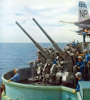 "3""/50 caliber gun - Mk. 33 twin mount on USS ''Wasp'', in 1954."