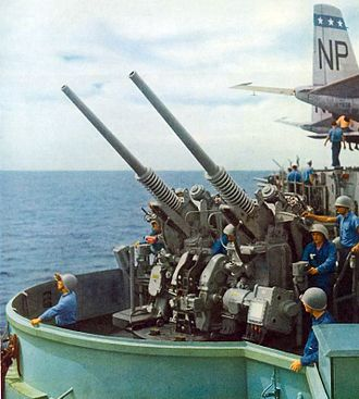 "3""/50 caliber gun - Mk. 33 twin mount on USS Wasp, in 1954."