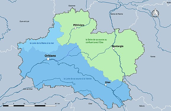 R seau hydrographique du loiret wikimonde for Region du loiret