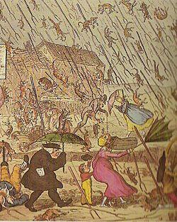 Caricatura humorística inglesa del siglo XIX, donde llueven perros y gatos.