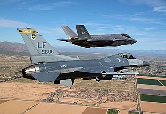 56th Fighter Wing - F-16 Fighting Falcon with the wing's first F-35 Lightning II