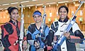 A. Chandela (INDIA) won Gold Medal, E Koshy (INDIA) won Silver Medal and Pooja Ghatkar (INDIA) won Bronze Medal, in the Women's 10m Air Rifle event, at the 12th South Asian Games-2016, in Guwahati on February 10, 2016.jpg